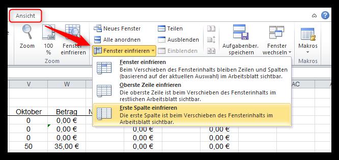 Berschriften fixieren in excel vdk edv service gmbh for Xls fenster fixieren
